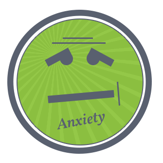 Animated face describing anxiety