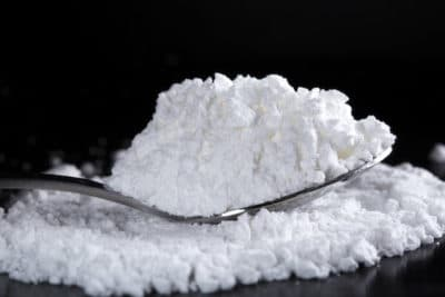 Powdered cocaine on a spoon