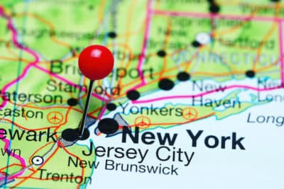 A pinpoint of new jersey on a map