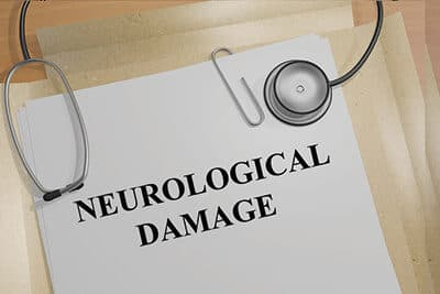 Render illustration of Neurological Damage title on medical documents