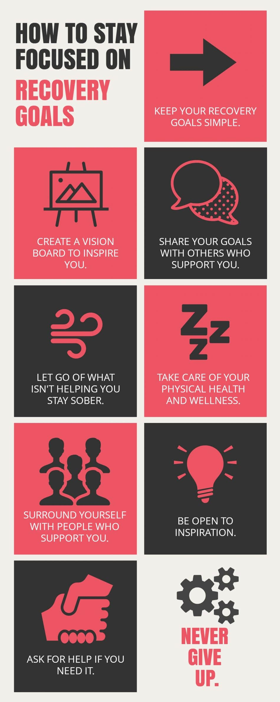 infographic on various ways to stay focused on recovery goals